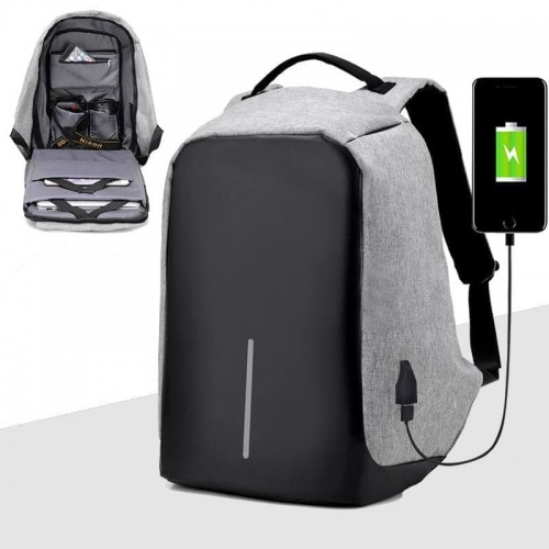 Рюкзак антивор серый с USB